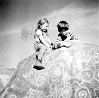 Kids on the petroglyphs
