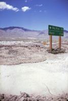 Road sign after flood