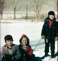 Three DS children with sled